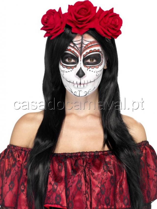 Bandolete com flores caveira mexicana carnaval catalogo a casa do carnaval almeida Maquillage de diablesse facile a faire